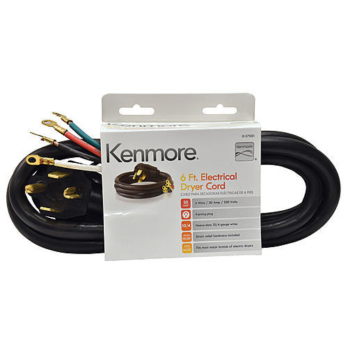 Kenmore 99921 57001 4-Prong 6' Round Dryer Cord – Black