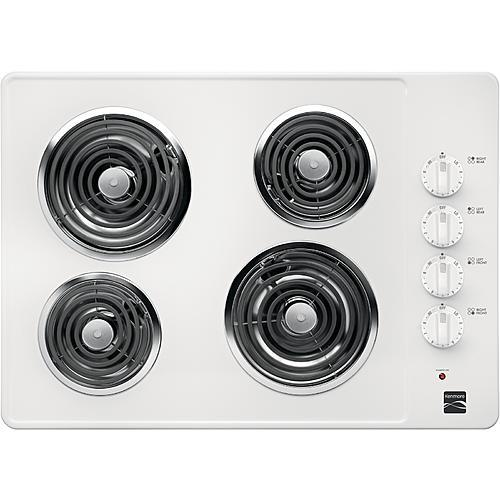 """Kenmore 41302 30"""" Electric Coil Cooktop - White"""