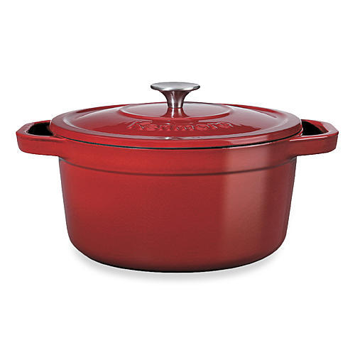 Kenmore 7 qt. Cast Iron Dutch Oven - Red