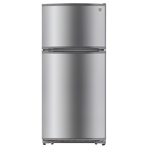 Kenmore 60515 18 cu. ft. Top-Freezer Refrigerator with Glass Shelves – Fingerprint Resistant Stainless Steel